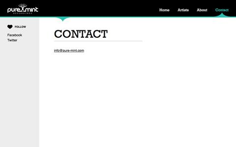 Screenshot of Contact Page pure-mint.com - Contact - Pure Mint - captured May 22, 2016