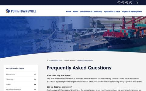 Screenshot of FAQ Page townsville-port.com.au - Frequently Asked Questions  | Port of Townsville - captured Nov. 27, 2018
