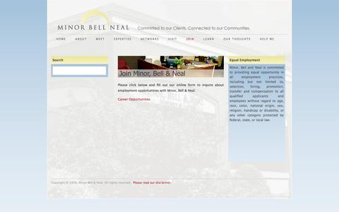 Screenshot of Signup Page mbnlaw.com - Join - Minor Bell Neal Law Firm - captured Oct. 26, 2014