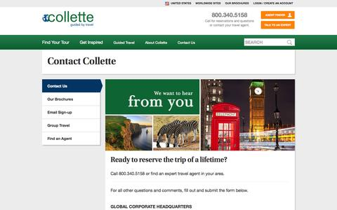 Screenshot of Contact Page gocollette.com - Collette - Contact Collette - captured Sept. 24, 2014