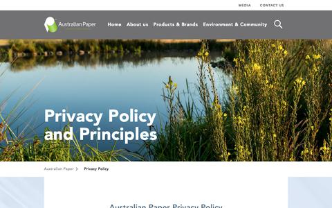 Screenshot of Privacy Page australianpaper.com.au - Privacy Policy - Australian Paper - captured Oct. 4, 2018