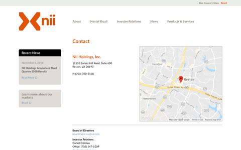Screenshot of Contact Page nii.com - Contact | Nii Holdings | Multinational Telecommunications Company - captured Feb. 12, 2019