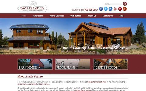 Screenshot of Home Page davisframe.com - Timber Frame, Barn Homes, Post and Beam - Davis Frame - captured Oct. 5, 2014