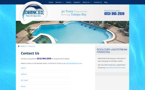 Screenshot of Contact Page advancedpool-spa.com - Contact Advanced Pool and Spa in Tampa, FL - 813-995-2939 - captured Oct. 7, 2017