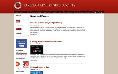 Screenshot of Press Page pas.org.pk - Pakistan Advertisers Society | Archive | News and Events - captured Sept. 26, 2018
