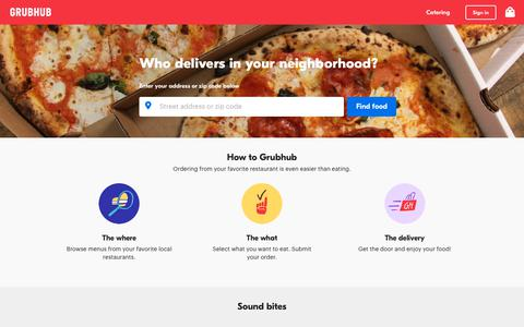 Screenshot of Home Page grubhub.com - Food Delivery | Restaurant Takeout | Order Food Online | Grubhub - captured Dec. 13, 2018