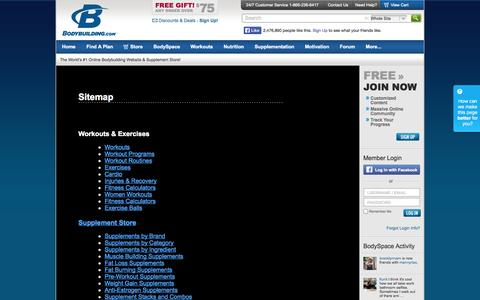 Screenshot of Site Map Page bodybuilding.com - Bodybuilding.com - Sitemap - captured Sept. 19, 2014