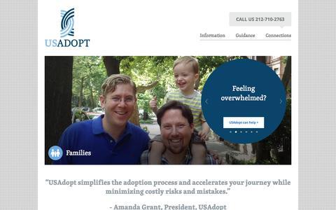 Screenshot of Home Page usadopt.com - Considering adoption? Feeling overwhelmed? USAdopt Can help. - captured Oct. 3, 2014