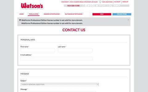 Screenshot of Contact Page watsons.com - Cincinnati Contact Us - captured Nov. 2, 2014