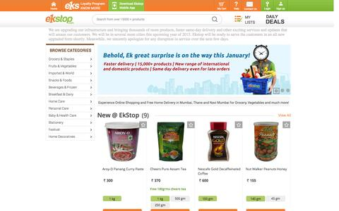 Screenshot of Home Page ekstop.com - Online Shopping in Mumbai, Online Grocery, Grocery, Stationery, Electricals, Baby Food, Online Discount Shopping, Mumbai, Ekstop.com - captured Jan. 22, 2015