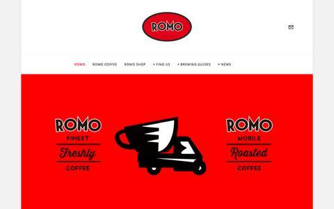 Screenshot of Home Page romocoffee.com - Romo Coffee London - captured Jan. 13, 2016