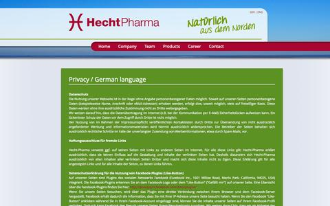Screenshot of Privacy Page hecht-pharma.com - Privacy - Hecht-Pharma GmbH english - captured Oct. 1, 2014