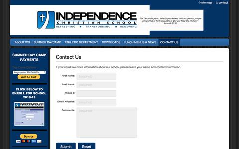 Screenshot of Contact Page independencechristianschool.com - Independence Christian School - CONTACT US - captured July 27, 2018
