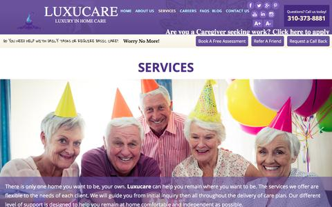 Screenshot of Services Page luxucare.com - Services - Luxucare - Luxury in Home Care - Torrance, California - captured July 14, 2018