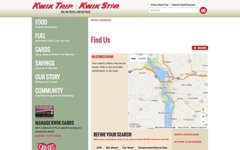 Screenshot of Locations Page kwiktrip.com - Kwik Trip, Inc. - Locations - captured Jan. 21, 2016