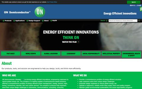 Screenshot of About Page onsemi.com - ON Semiconductor: About - captured April 21, 2018