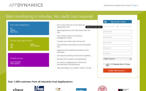 Screenshot of Landing Page appdynamics.com - AppDynamics Self-Service - captured Oct. 27, 2014