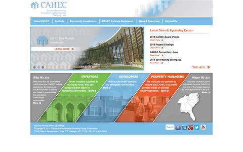Screenshot of Home Page cahec.com - Community Affordable Housing Equity Corporation (CAHEC) - captured July 10, 2016