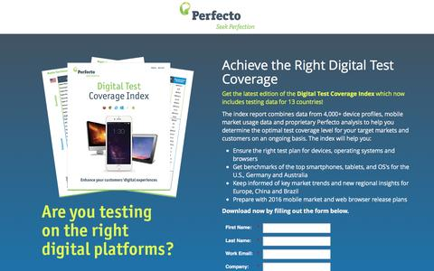 Screenshot of Landing Page perfectomobile.com - Ensure the Right Digital Test Coverage - captured Aug. 19, 2016