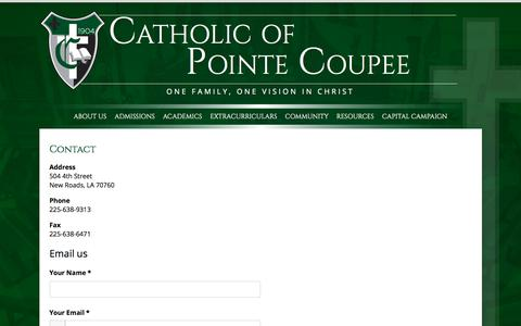 Screenshot of Contact Page catholicpc.com - Contact | Catholic of Pointe Coupee - captured July 17, 2017