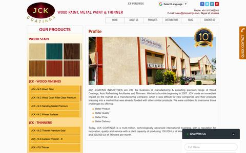 Screenshot of About Page jckcoatings.com - We Deliver better quality Wood coating, Thinner and Auto Refinishes - captured Dec. 17, 2018