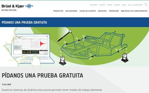 Screenshot of Trial Page bksv.com - Prueba gratuita  dinámica estructural - Brüel & Kjaer España - captured Nov. 13, 2018