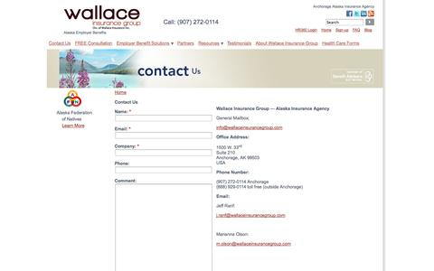 Screenshot of Signup Page wallaceinsurancegroup.com - Alaska Insurance Agency - captured Sept. 30, 2014