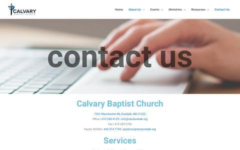 Screenshot of Contact Page cbcdundalk.org - Contact Us – Calvary Baptist Church - captured Sept. 26, 2018