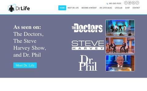 Screenshot of Home Page drlife.com - Dr Life: Age Management Medicine for Improving Your Quality of Life - captured Feb. 15, 2016