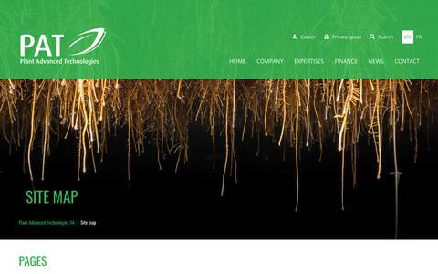 Screenshot of Site Map Page plantadvanced.com - Site map - Plant Advanced Technologies SA - captured Sept. 28, 2018