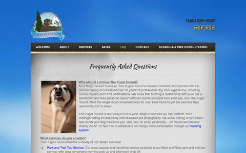 Screenshot of FAQ Page gopugethound.com - Frequently Asked Questions - The Puget Hound - The Puget Hound: Bellingham's Trusted Pet Sitters & Dog Walkers - captured Oct. 6, 2014