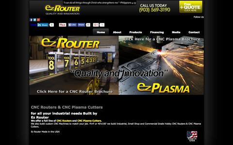 Screenshot of Home Page ez-router.com - CNC Routers / CNC Plasma Cutters Made in the USA by Ez Router - captured Sept. 18, 2015
