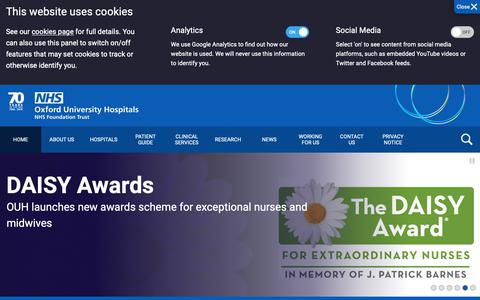 Screenshot of Home Page ouh.nhs.uk - Oxford University Hospitals - captured Oct. 19, 2018