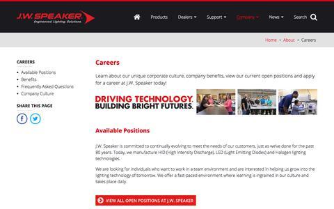 Screenshot of Jobs Page jwspeaker.com - Careers – About - J.W. Speaker - captured Sept. 30, 2017