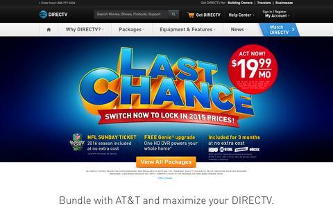 Screenshot of Home Page directv.com - DIRECTV Satellite TV - Official Site | 1-800-490-4388 - captured Jan. 5, 2016