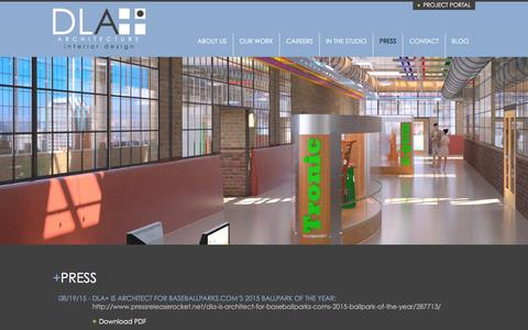 Screenshot of Press Page dlaplus.com - Press | DLA+ Architecture & Interior Design - captured Feb. 25, 2016