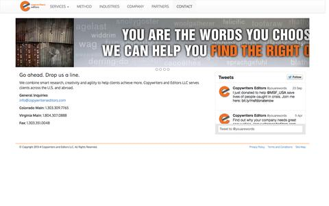 Screenshot of Contact Page copywritersandeditors.com - Copywriters and Editors, Contact Us - captured Sept. 30, 2014