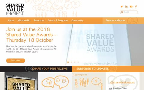 Screenshot of Home Page sharedvalue.org.au - Shared Value Project - captured Oct. 19, 2018