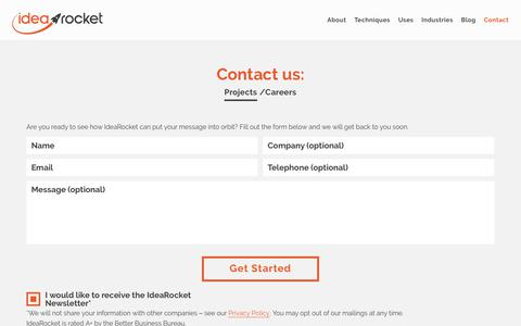 Screenshot of Contact Page Jobs Page idearocketanimation.com - Contact IdeaRocket - captured May 18, 2019