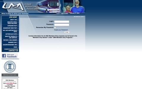 Screenshot of Login Page uma.org - UMA.ORG - United Motorcoach Association - captured Feb. 17, 2016
