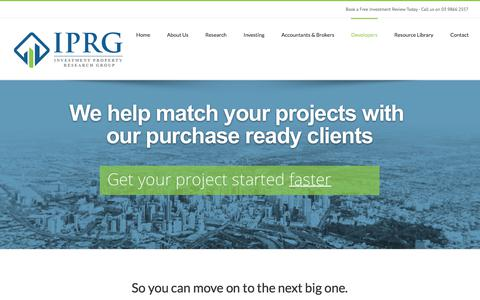Screenshot of Developers Page iprg.com.au - Find Property Investors | How to Find Investors for Property - captured Oct. 4, 2017