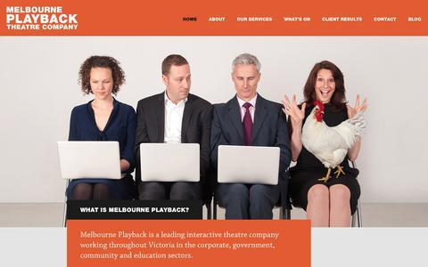 Screenshot of Home Page melbourneplayback.com.au - Melbourne Playback Theatre Company - captured Sept. 30, 2014