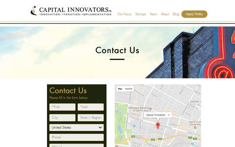 Screenshot of Contact Page capitalinnovators.com - Capital Innovators | Contact Us - captured Oct. 30, 2017