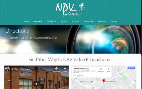 Screenshot of Maps & Directions Page npvdigitalvideo.com - NPV Video Productions, Monroeville, Pennsylvania - captured Oct. 18, 2018