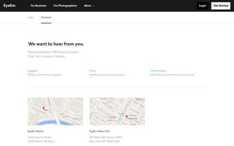 Screenshot of Contact Page eyeem.com - Contact Us | EyeEm - captured Oct. 2, 2019