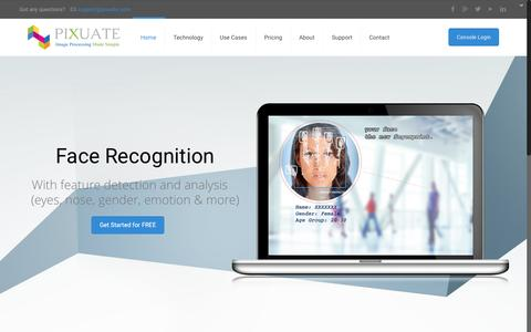 Screenshot of Home Page pixuate.com - Pixuate - Visual Search - Face Recognition - Card Reading - captured Oct. 8, 2015