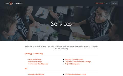 Screenshot of Services Page expert360.com - Consulting Services - Expert360 - captured Oct. 7, 2016