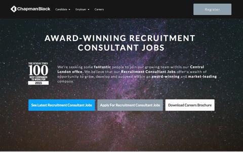 Screenshot of Jobs Page chapmanblack.com - Recruitment Consultant Jobs in London   ChapmanBlack - captured July 17, 2018