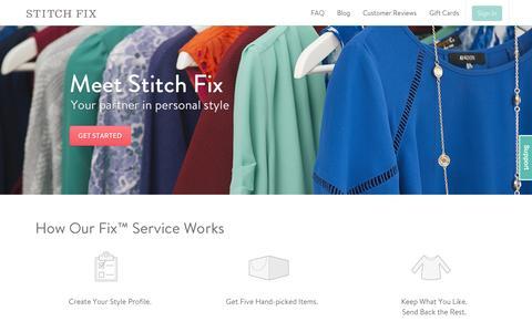 Screenshot of Home Page stitchfix.com - Stitch Fix   An Online Personal Styling Service for Women - captured Sept. 17, 2014