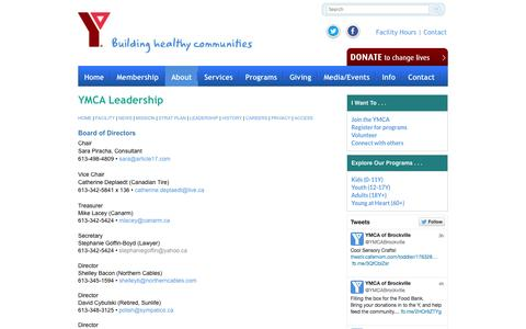 Screenshot of Team Page brockvilley.com - YMCA of Brockville and Area | Leadership - captured Oct. 3, 2014